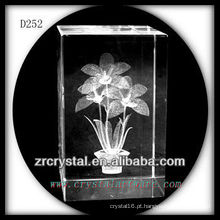 K9 3D Laser Girassol Dentro Retângulo De Cristal