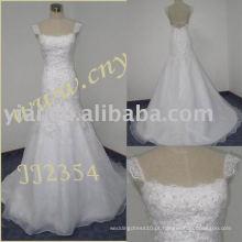 2011 mais recente gota elegante shippiong frete estilo de vestido de bola livre 2011 enrolado vestido de noiva sereia de renda JJ2354