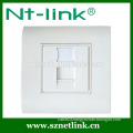 Factory price 80*80mm single port face plate for cat6/cat5e with bottom box,suitable for module jack
