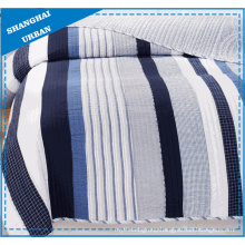 Gray Navy Stripe Printed Polyester Patchwork Quilt