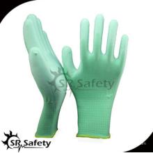 SRSAFETY green pu перчатки / 13-жильный зеленый полиэфирный перчатка