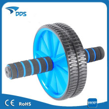 Doble rueda Ab Abdominal Abs rodillo entrenamiento ejercicio fitness azul