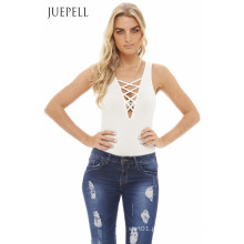Lace up Mulheres Frente Bodysuit
