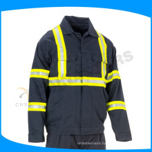 unisex gender navy blue flame resistant coveralls with reflective tape