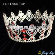 Kırmızı elmas taklidi Kral ve Kraliçe tam yuvarlak kron