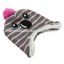 Children Earflap Beanie Hat, Inka Hat, Cute Warm Winter Beanie Hat with Earflaps Pattern