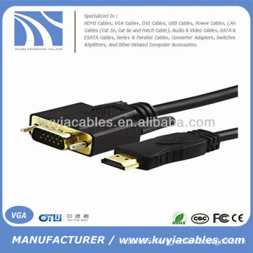 HDMI 1.4 Gold Male To VGA Male Cable for Mac 6FT 1.8M 1080P