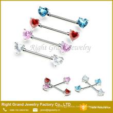 Stainless Steel Heart Shape Cubic Zircon Crystal Nipple Ring Piercing