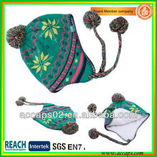 green pom pom beanie with pompoms wholesale BN-2031