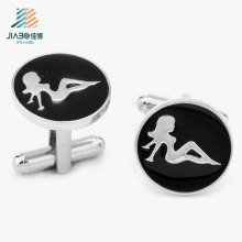 Hot Sell Products Paint Round Sexy Girl Custom Cufflink for Promotional