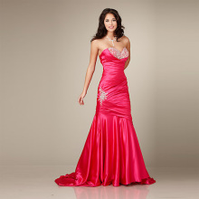 Fabulous Flattering Mermaid Sweetheart Strapless Chapel Train Satin Beading Evening Dress