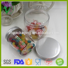 Frasco de doces de plástico transparente vazio com base de alumínio com tampa de alumínio