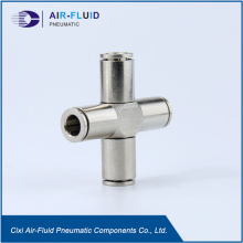 Air-Fluid Brass Nickel-Plated Equal Cross Push in Fittings