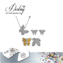 Schicksal Schmuck Kristall von Swarovski Schmetterling Set Anhänger Ring