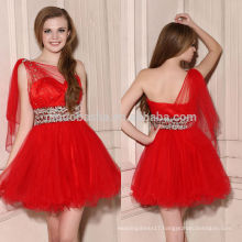 2014 Stunning Red Short Homecoming Dress One-Shoulder Beaded Sash Layered Tulle Skirt With Ribbon Zipper A-Line Prom Gown NB0904