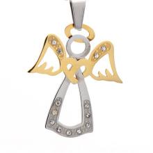 Neue Ankunft Edelstahl Antik Kristall Silber und Gold Engel Flügel Kreuz Halskette Anhänger Schmuck