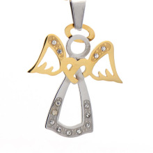 New arrival stainless steel antique crystal silver and gold angel wing cross necklace pendant jewelry