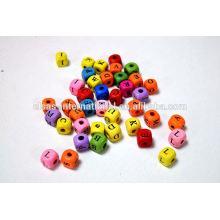 Wood Letter Alphabet Beads/Cube Alphabet Letter Beads