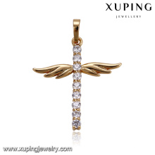 32925 Crystal bar designed Indian gold plated wings fashion pendant jewelry
