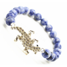 Sodalite Gemstone Bracelet with Diamante alloy lizard Piece