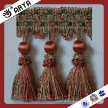 Woven Wood Beads Tassel Curtain Trim Lace tassel fringe ,used for drapes,cushions,curtain and accessories,made in China