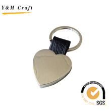 Metal and Leather Tag Keyholder with Steaching (Y02094)