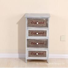 Indoor Solid Wood Vintage 4 Drawers Storage Cabinet
