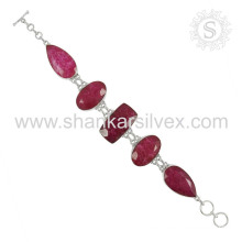 Beautiful ruby gemstone silver bracelet jewelry 925 sterling bracelets silver jewellery wholesaler