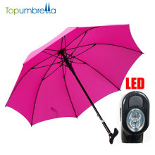 high quality custom automatic multi function safety walking stick umbrella with led and horn