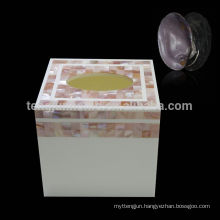 CPN-TB01 Square Pink MOP Shell Tissue Box