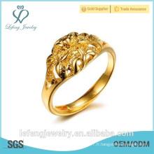 Prix de gros anneau en or brillant plaqué or anneau anneau moderne