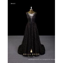 Vestido de novia nuevo 2017 lentejuelas negro profundo-V vestido de noche trasero hecho en china