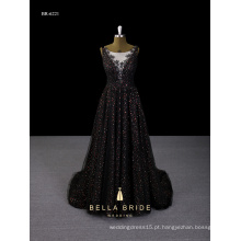 Vestido de noiva novo 2017 sequin preto profundo-V vestido de noite de volta feito na China