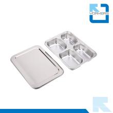 4 Rejillas 304 Cajón de acero inoxidable y contenedor de almuerzo