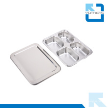 4 Grids 304 Stainless Steel Dinner and Lunch Plate Container