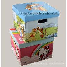 Grandes cajas de almacenamiento corrugado de impresión plegable con agujero