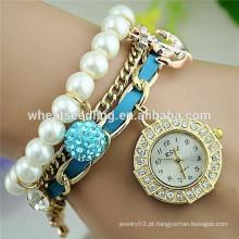 2014 moda diamante âncora âncora e shambala grânulos pérola pulseira relógio chinês barato