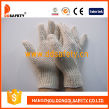 Natural Cotton/Polyester Gloves with White PVC Dots Both Sides (DKP209)