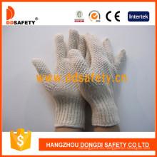 Guantes de poliéster de algodón natural con puntos blancos de PVC Ambos lados Dkp209