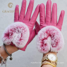 Soft Plain Style fashion real fur gloves