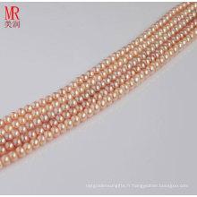 Boucles de perles d'eau douce de 4 à 5 mm de couleur rose, boutons ronds