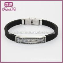 2014 pulseira de silicone personalizado bracelete de aço inoxidável pulseira de silicone atacado