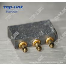 Conector con carga de resorte con 3 clavijas, alta durabilidad, paso fino