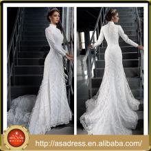 LB06 High Quality Custom Made Hand Made Lace Applique High Neck Long Sleeve Mermaid Elegant Muslim Wedding Dress