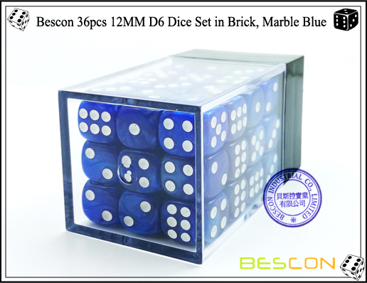 Bescon 36pcs 12MM D6 Dice Set in Brick, Marble Blue-2