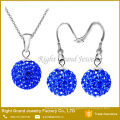 Shamballa Jewelry Sets Rhinestone Balls Shamballa Earrings Ear Stud & Necklace Pendant Set