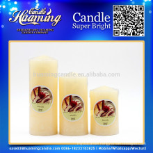 Huaming decorated candles/Wholesale White Pillar Candles /white pillar church candles