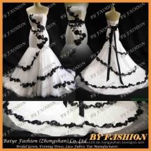 2016 Sweet Back Französisch Lace Stoff Brautjungfer Kleid mit Satin Brautkleider Ali-Express weißes schwarzes Spitze Brautkleid