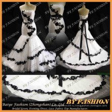 2016 сладкий назад французский кружевной ткани невесты платье с атласная свадебные платья Али экспресс белый черный кружева свадебное платье
