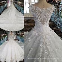 LS00158 плеча баски последний приличный аппликации цветы из ткани для женщин плюс Размер белый свадебное платье невесты